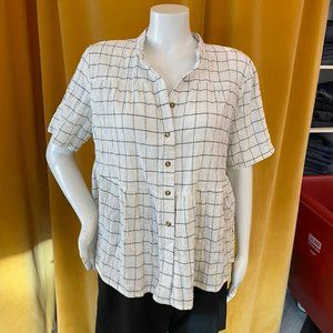 Roolee White Checkered Babydoll Button Down
